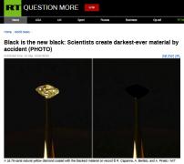 史上最黑材料能吸收99.995%的入射光 由碳纳米管(CNTs)制成